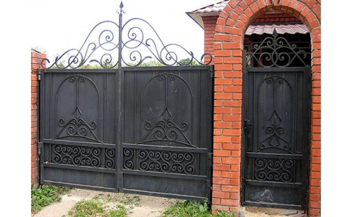 Кованые ворота - Распашные ворота и калитка 21