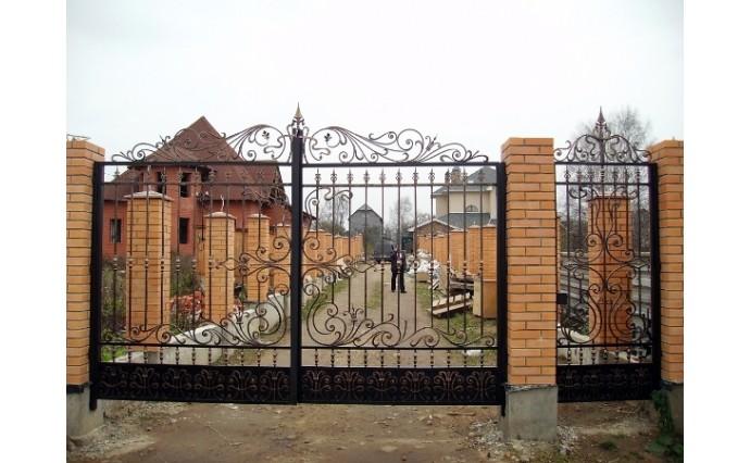 Кованые ворота - Распашные ворота и калитка 18
