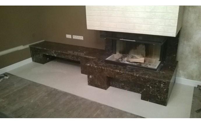 Камины из мрамора - Облицовка камина мрамором Emperador Dark