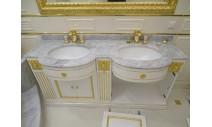 Столешницы из мрамора - Столешница с двумя мойками. Вополнена из испанского мрамора Bianca Carrara