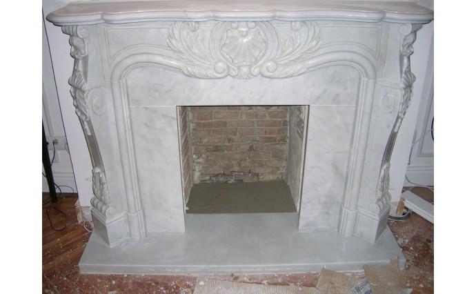 Камины - Резной каминный портал из мрамора Bianco Carrara