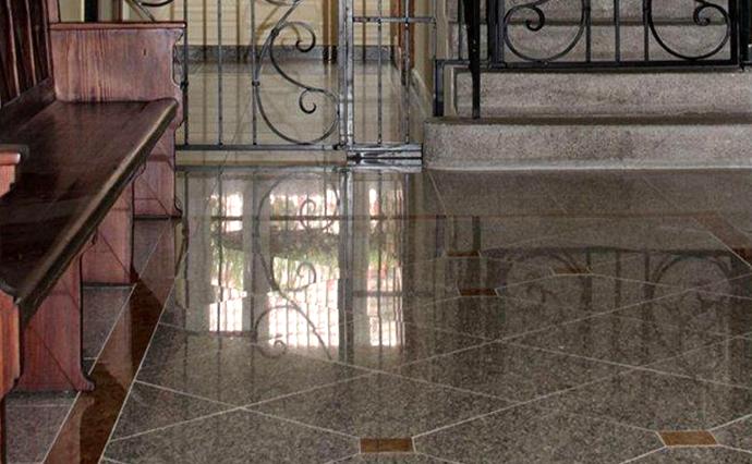 Гранитные полы - Гранитный пол с вставками и контрастной окантовкой